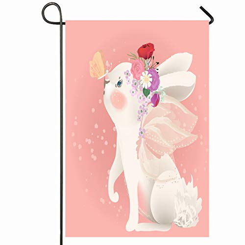 - Ahawoso Outdoor Garden Flag 12x18 Inches Magic Baby Cute White Bunny Fairy Drawing Wings Floral Bouquet Butterfly Character Girl Seasonal Home Decorative House Yard Sign