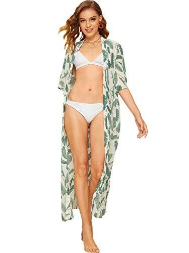 (SweatyRocks Women's Flowy Kimono Cardigan Open Front Maxi Dress Green#5 S)