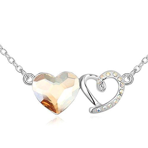 Daesar Gold Plated Women's Love Heart Necklace Rhinestone CZ Pendant Necklace for Women (Mini Dark Rust Pendant)