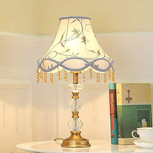 HJY Home Simplicity European Crystal Table Lamp Pastoral Style Bedroom Bedside Cloth Tassel Desk Lamp Romantic Wedding Light