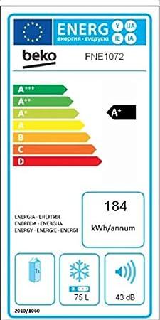 Beko FNE 1072 Congelador mini, bajo encimera, 90 litros, Acero ...