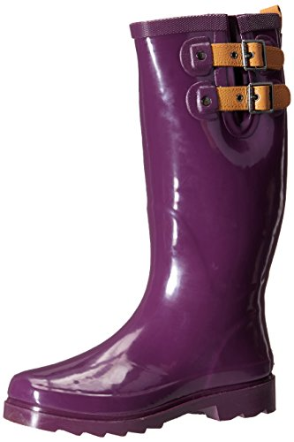 Chooka Women's Top Solid Rain Boot, Imperial Purple, 8 M US - Purple Tall Shoes