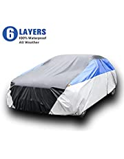 KAMCHAU 6 Layers Waterproof Car Cover,All Weather for Automobiles UV Protection Snowproof Outdoor Full Cover with Cotton Zipper,Universal Fit