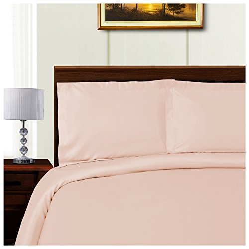 Superior 1000 Thread Count Silky Soft Tencel Blend Wrinkle Resistant, Button Closure 3-Piece King/California King Duvet Cover Set, Solid Pink