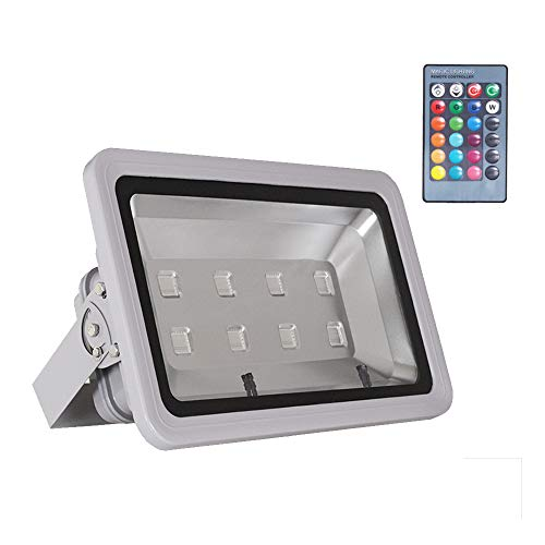 WEDO 400W RGB LED Flood Light IP66 Waterproof Gray Shell 16 Colors Change 4 Modes with Remote Control Wall Wash Light Security Light for Outdoor Garden Landscape Yard Car Park (Plug is not Included)