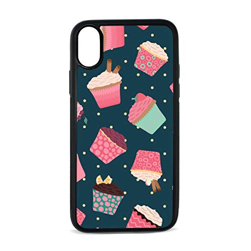 Cup Cake Dessert Snack Color Digital Print TPU Pc Pearl Plate Cover Phone Hard Case Cell Phone Accessories Compatible with Protective Apple Iphonex/xs Case 5.8 Inch