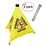 Tiger Chef Commercial Pop-Up Safety Cone with Storage Tube Multi-Lingual Caution Imprint and Wet Floor Symbol, Yellow 2-Pack