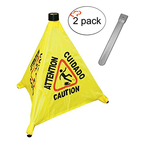 Tiger Chef Commercial Pop-Up Safety Cone with Storage Tube Multi-Lingual Caution Imprint and Wet Floor Symbol, Yellow 2-Pack by Tiger Chef