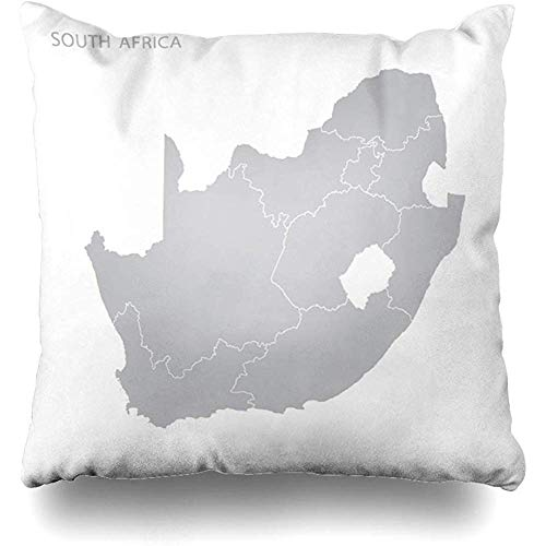Staroatl Throw Pillow Cover Shape Green Outline Map South Africa Province Grey Modern Administrative Cape Cartography Design Square Cushion Sofa Pillowcase 18 x 18 Inches Home Decor Pillow Case (South Covers Chair Africa Patio)