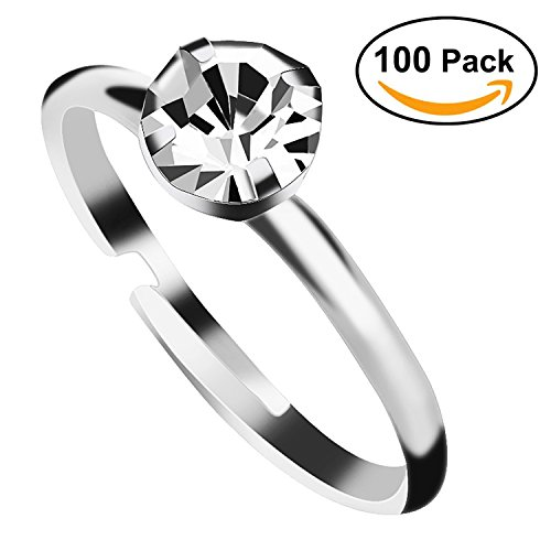 Ornament Wedding Favor (Aboat 100 Pack Silver Diamond Bridal Shower Rings for Wedding Table Decorations, Party Favors)