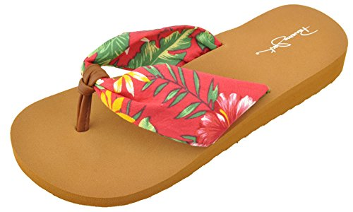 Panama Jack Womens Sandals, Ladies Island Girl Floral, Wedge Flip Flop Sandal, Red, Size 8-9