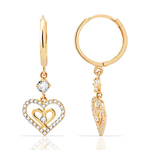 (Double Heart CZ Dangling Earring in 14K Yellow Gold)