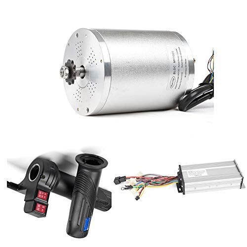 Kunray 48V 2000W Electric Bike Conversion Kit 42A Scooter DC Motor, Brushless Controller, High Speed Motor Vehicles, Gas Throttle for Go Karts Motorcycle Scooter (48V 2000W Without Foot Motor Kit)