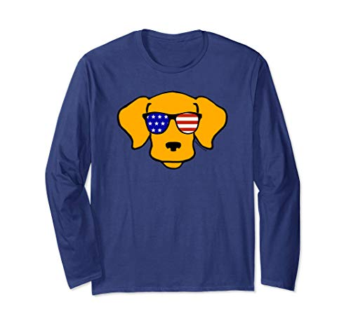 -  Cool Smiley Face American Flag Sunglasses Funny Dog Long Sleeve T-Shirt