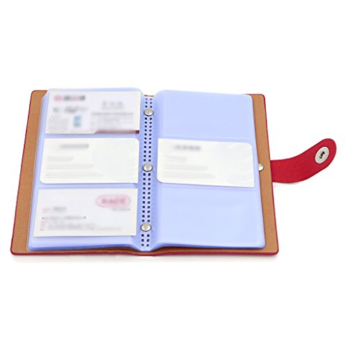 BTSKY Book Style Business Card Holder Name Card Book ID Card Credit Cards Organizer--For 300 Business Cards (Red)