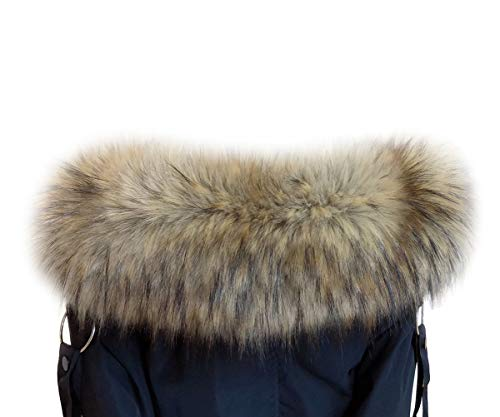 Animal Jacket Trim (VEVESMUNDO Removable Fake Fur Trim Neck Collar Wrap Scarf Warmer For Parka Coats (Faux fur collars 75cm, Bright brown))