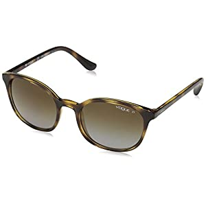VOGUE Women's Plastic Woman Polarized Square Sunglasses, Dark Havana, 52.0 mm