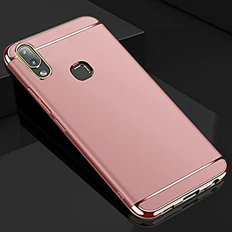 cheap for discount f1b45 cb843 AEETZ 360 Degree Ultra-Slim Lightweight 3-in-1 Fit Matte Hard Back Case  Cover for VIVO V9/Youth (Rose Gold)