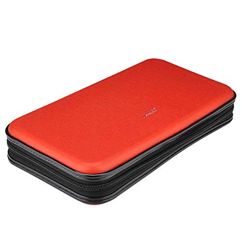 XiongYe CD DVD Case, 72 Capacity Heavy Duty Wallet, DVD CD Case Holder for Car, Hard Shell Sturdy case, CD Disk Holder, DVD disc Binder, Booklet, Protective Blu-ray Wallet (72 Capacity,Red)
