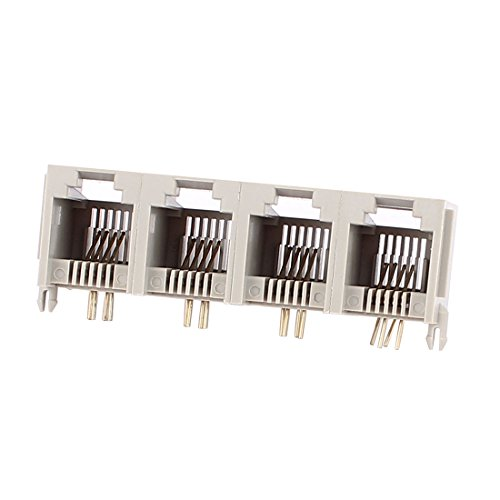 uxcell 4 Ports RJ11 6P4C 4 Pins Side Entry Modular PCB Telephone Jack - 6p4c Pin