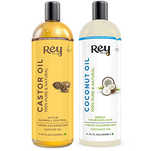 Rey Naturals® Cold-Pressed, 100% Pure Castor Oil & Coconut Oil Combo – Moisturizing & Healing, For Skin, Hair Care…