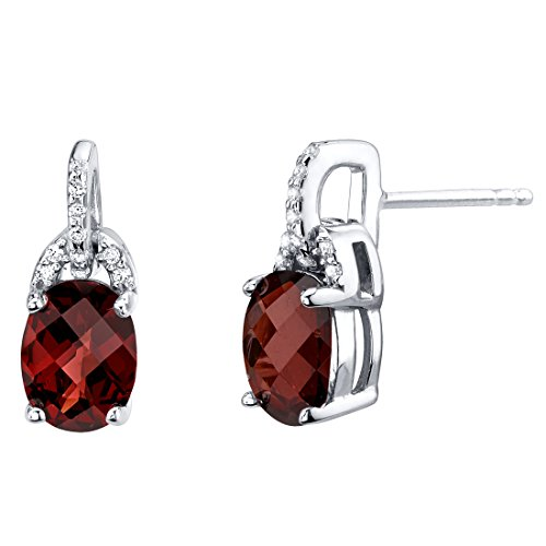 Garnet Sterling Silver Pirouette Drop Earrings 3.00 Carats Total (Ring Garnet Raspberry)
