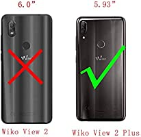 QFSM Wiko View 2 Plus Funda Silicona Carcasa TPU Case Cover + 1 Pack HD Película Protectora Cristal Templado para Wiko View 2 Plus (5.93