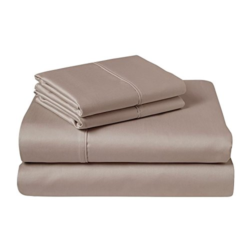 Textile City Inc 600 Thread Count Organic Cotton Sheet set Taupe 3 Piece ()