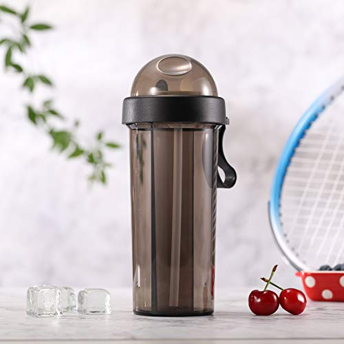 Aibeide Double Straw Tumbler,Dual Wall Vacuum Insulated Coffee Cup with Lid - Perfect for Hot & Cold Drinks,2 Compartment Water Mug,20oz(Black)