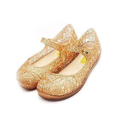 CXIJZKJ Baby Girls Mary Jane Jelly Bird Nest Cosplay Shoes for Kids Toddler Girls Shoes (9M US Toddler, Gold)
