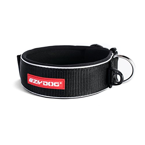 Neo Wide Dog Collar - EzyDog Neo Classic Wide Neoprene No Stink Waterproof Dog Collar for Large Dogs - Reflective for Nighttime Safety and Padded for Comfort - Superior Durability and Easy to Clean (X-Large, Black)