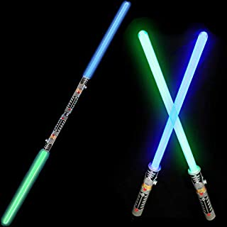 2-in-1 LED Light Up Swords Set FX Double Bladed Dual Sabers with Motion Sensitive Sound Effects (2 Pack)