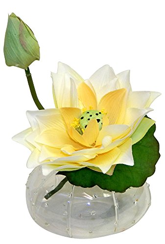 Wholesale Water Lilies - Wholesale Silk Floral Waterlily in sea Urchin Glass vase Floral Arrangement, 7-in, Cream