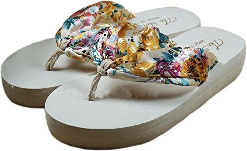bettyhome Women Bohemian Style Satin Comfortable Thongs Casual Wedges Sandals Beach Flip Flops Slippers White S748c95YSR