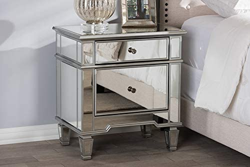 Mirrored 2 Drawer Nightstand, Made From MDF, Bedside Storage, Bronze Drawer  Pulls, Beveled Table Top, Bedroom Furniture, Storage Space, Bundle With Our  ...