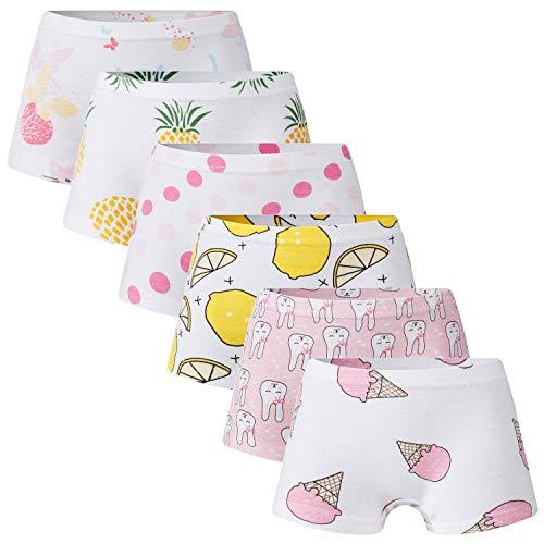 Growth Pal 6 Pack Soft 100% Cotton Girls's Panties Briefs Little Girls' Underwear Toddler Undies 04-L