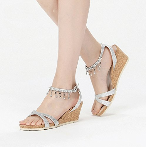 Dream Elegant Lady High Heels Fashion Sequins Tassel High Heels Sandals Feet Bare Shoes (Color : Silver, Size : 39)
