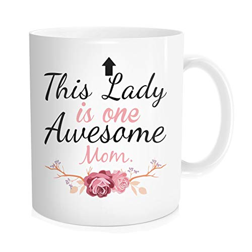 Hasdon-Hill One Awesome Mom Funny Coffee Mug - Best Mother's Or Valentines Day Gifts For Mom, Women Unique Gift Idea From Daughter Son or Husband Cool Birthday Present For a New Mother, Wife 11 OZ