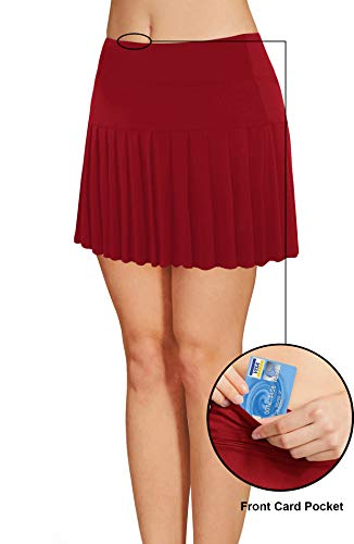 4dd2369684 Womens Tennis Pleated Skorts Golf Workout High Waist Biult in Skirts Sports  Active Wear with Pockets
