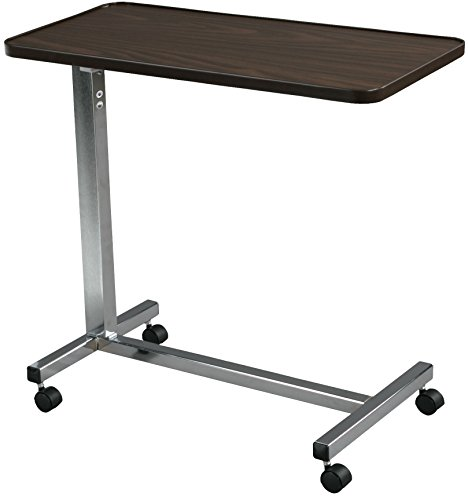 Round Walnut Activity Table - Drive Medical Non Tilt Top Overbed Table, Chrome