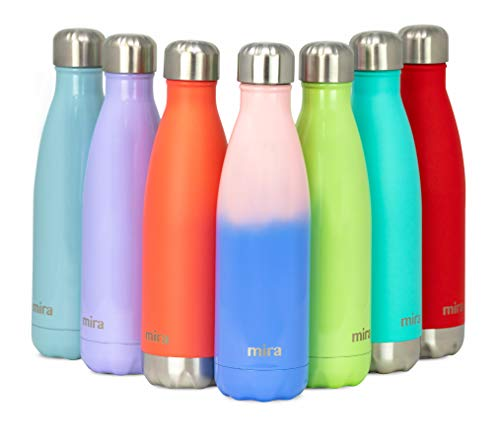 MIRA Stainless Steel Vacuum Insulated Water Bottle | Leak-Proof Double Walled Cola Shape Bottle | Keeps Drinks Cold for 24 Hours & Hot for 12 Hours (Cotton Candy, 17 oz (500 ml, 0.53 qt))