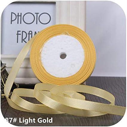 kawayi-桃 25ヤード/ロールグログランサテンリボン結婚式のクリスマスパーティーの装飾6mm-40mm DIY弓クラフトリボンカードギフト-Light Gold-10mm