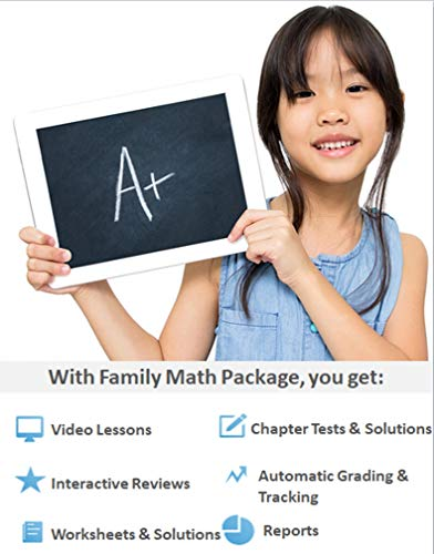 Family Math Package up to 5 Students – 1 Year Online (includes 8 grade levels – 1st, 2nd, 3rd, 4th, 5th, 6th, Pre-Algebra and Algebra 1) - Video Lessons, Interactive Review, Worksheets, Tests, Grading