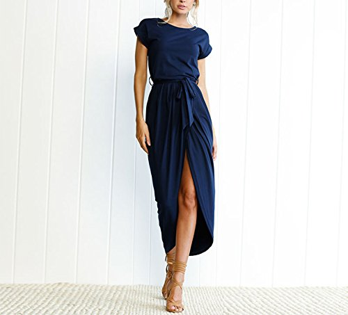 Bow Front Sheath Dress (Women's Solid Color Cotton Crew Neck Short Sleeve Front Slit Casual Long Maxi Dress With Belt (XL, Navy Blue))