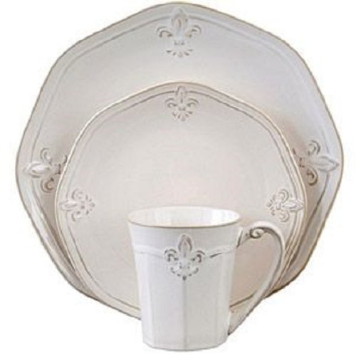 Cream Fluted Crest 16 Piece Stoneware Dinnerware Set Service for 4