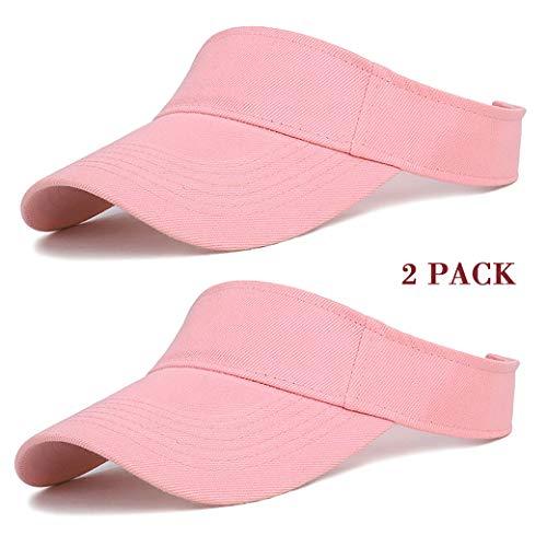 Edian Golf Visors for Women, Cotton Adjustable Running Tennis Visors (Pink)