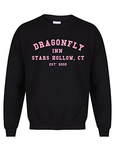 Dragonfly Inn Stars Hollow, CT, Est' 2000 - Black - Unisex Fit Sweater - Fun Slogan Jumper (Small - Chest 34-36 inches, w/Pink)