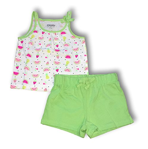 WonderKids Girls Watermelon, Strawberry & Pineapple Tank & Knit Shorts Set (Summer Tank Top w/Green Knit Shorts, 18M)