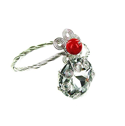 - Linpeng Giant Faceted Acrylic Stone Wired Flowers Bypass Bangle Bracelet, Clear/Red