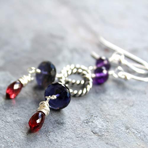Multi Gemstone Earrings Garnet Iolite Amethyst Statement Sterling Silver Red Blue Purple